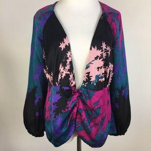 Diane Von Furstenberg 10 Silk Plunge Neck Blouse